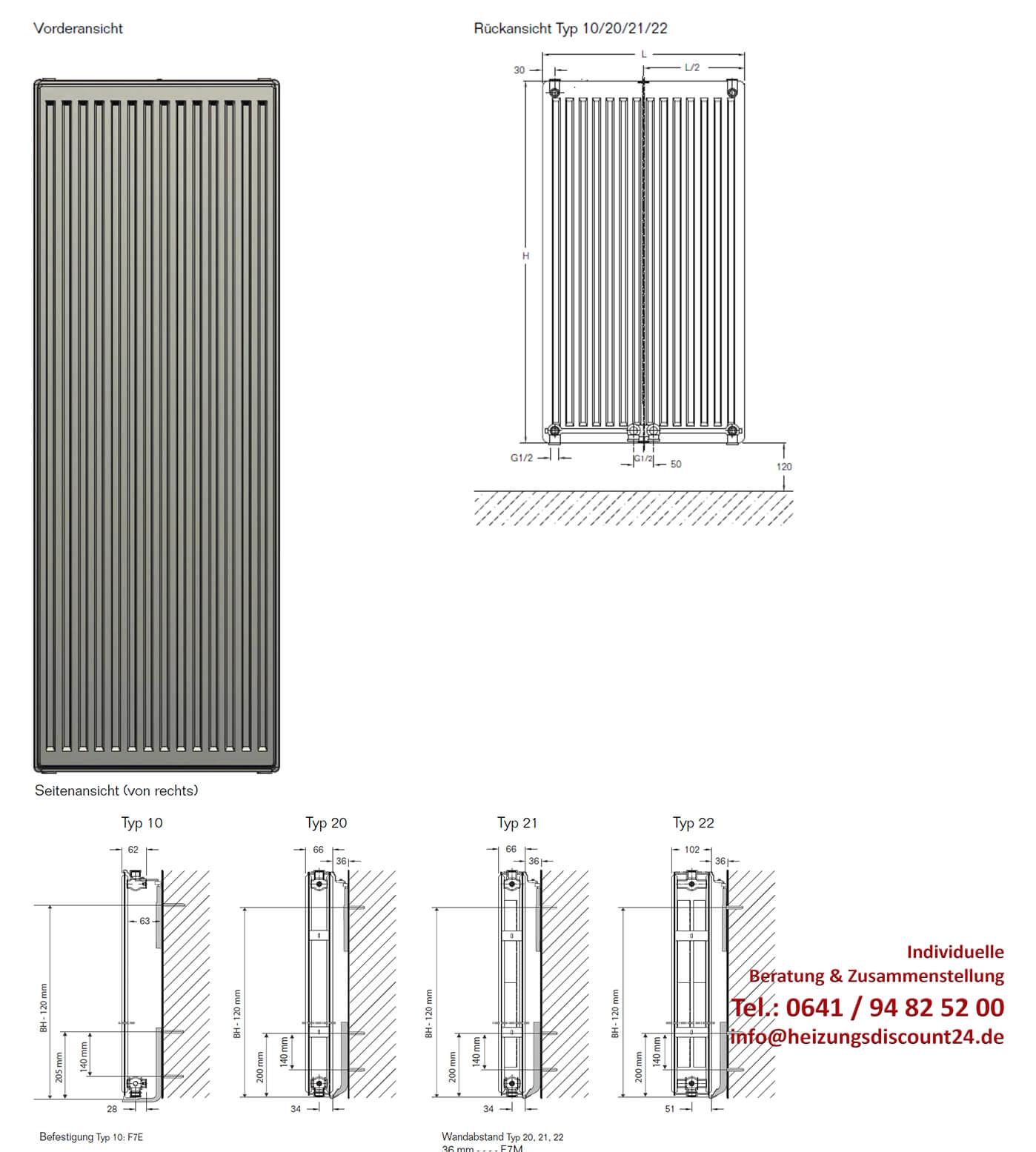 buderus heizkörper vertikal-kompakt cv-profil typ 10 1600x700 mm (h