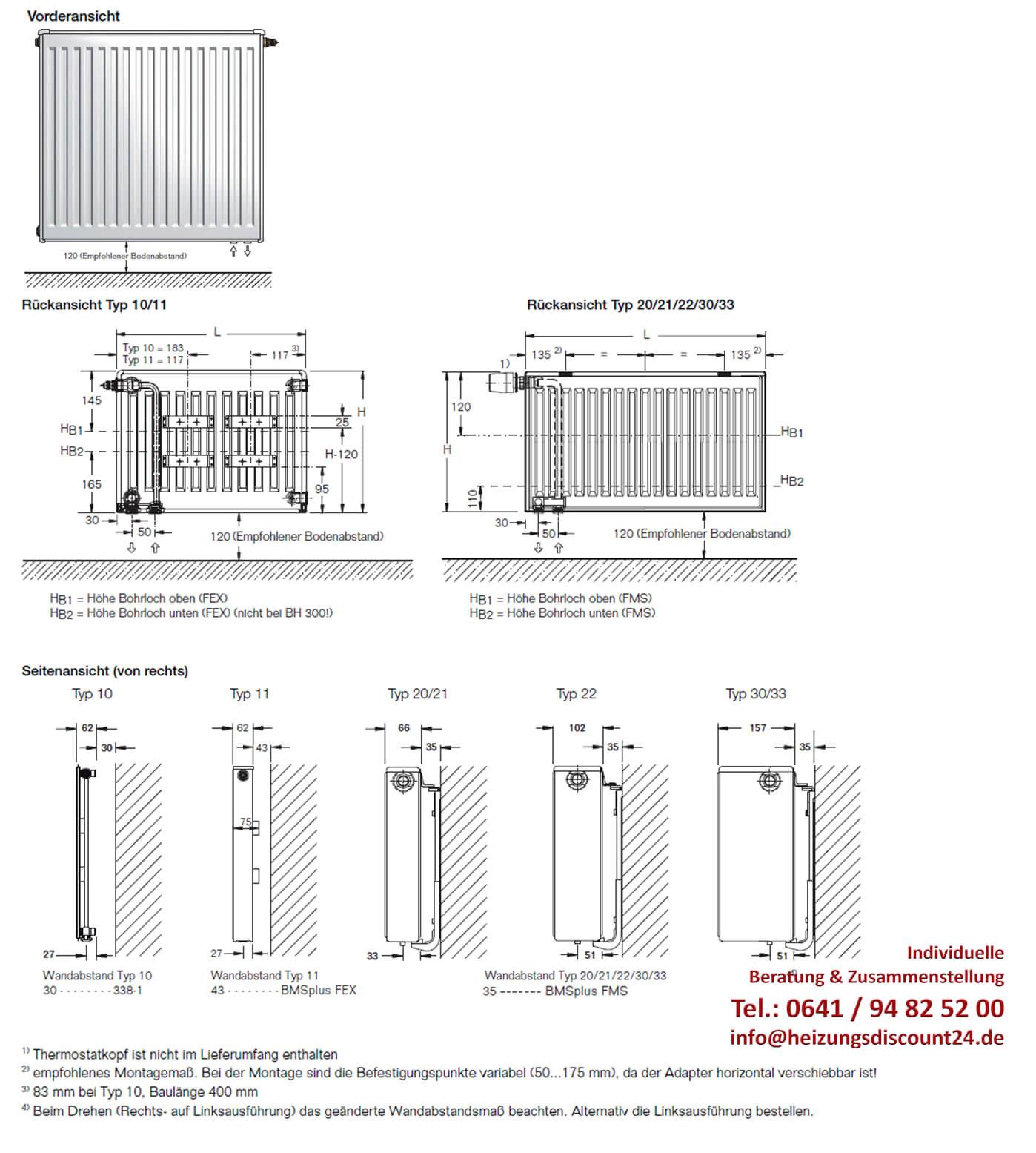 Buderus Ventil Kompakt Heizk/örper Profil VC-Profil Typ 22 H/öhe 400 mm L/änge 1200 mm mit Wandhalterung