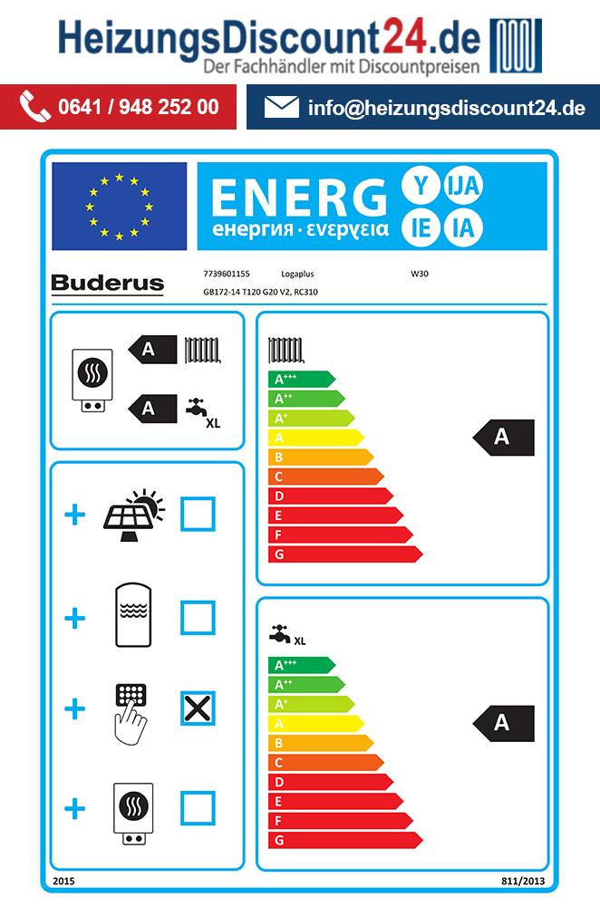 Buderus GB172 T 14 kW Gastherme mit T120, RC310, Oben, E / H (Gas ...