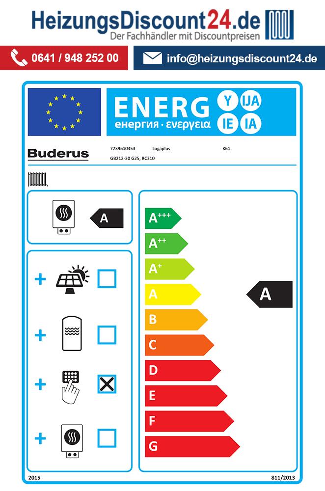 Buderus GB212-30, K61, Gas-Brennwertkessel, SU200 Speicher, HS25, L ...
