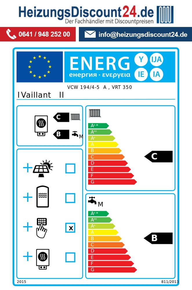 Vaillant Set 6.84 Gas Wandheizgerät Heizwert VCW 194//4-5 VRT 350 Zubehör