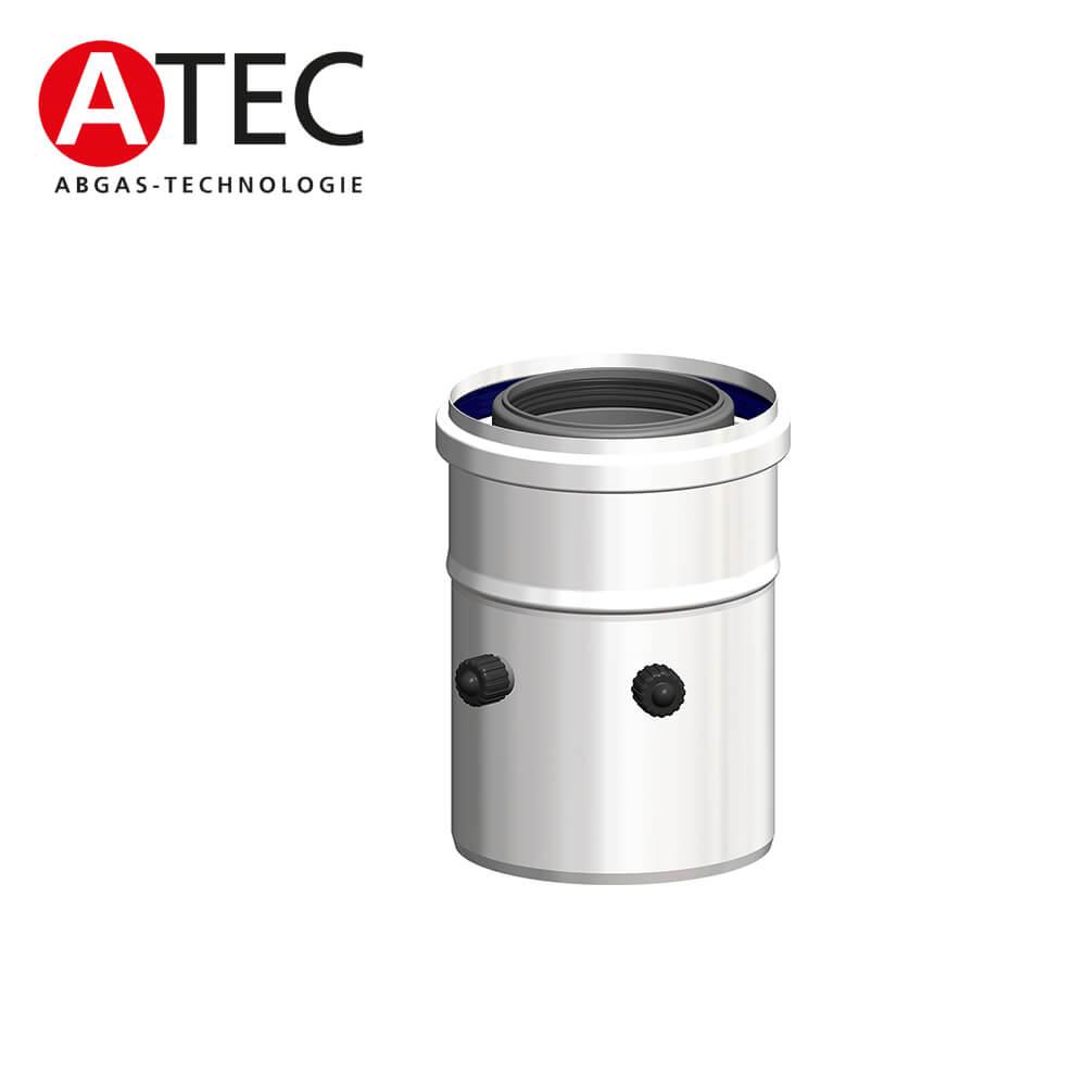 ATEC Abgas 1220 Kesselanschluss mit Messöffnung, gerade, DN80/125 ...