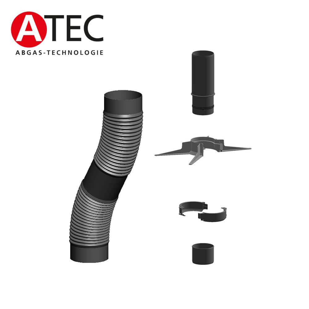 atec abgas 31322 flexrohr set inkl montage set 15m dn80. Black Bedroom Furniture Sets. Home Design Ideas