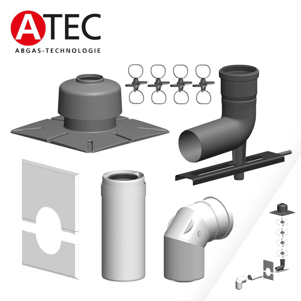 ATEC Abgas Rohr DN 80//125 konzentrisch 500 mm Abgasrohr