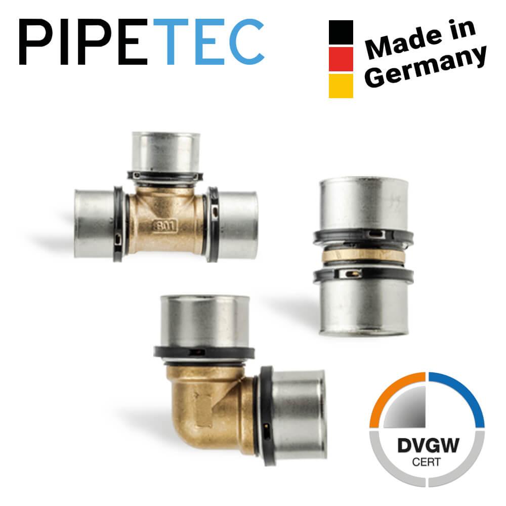 Pipetec Press-T-Stück Mittelabgang reduziert Pressfitting-Messing Fitting Press