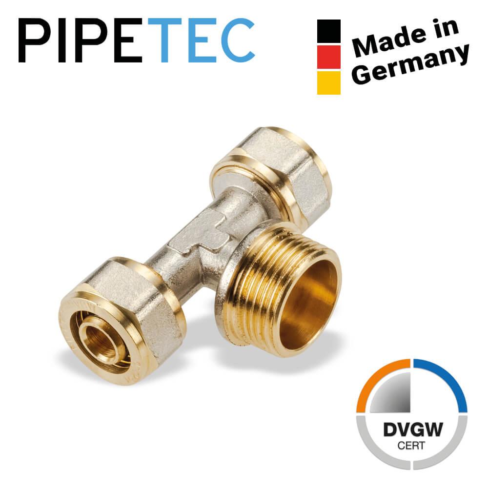 """DVGW Pipetec Schraub-T-Stück mit Außengewinde 16x2-3//4/"""" SFTA160516 16x2"""